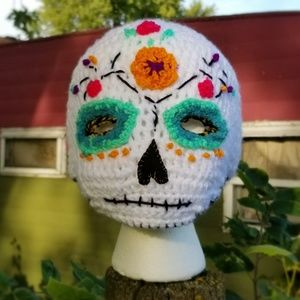 Sugar Skull Crochet Ski Mask Hat Halloween